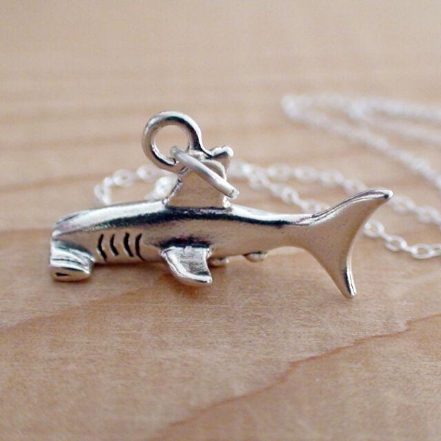 Hammerhead Shark Necklace - 925 Sterling Silver - Charm Marine Sharks Ocean NEW