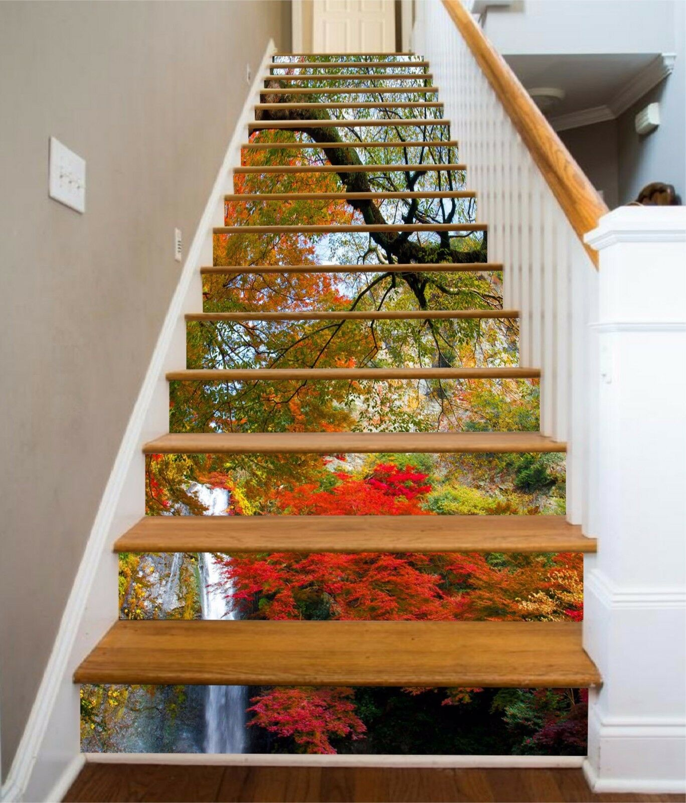 3D color Trees 201 Stairs Risers Decoration Photo Mural Vinyl Decal Wallpaper US