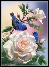 Chart Needlework Embroidery Counted Cross Stitch Pattern-Roses and Blue Bird