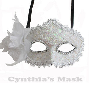 Cream-Yellow-Floral-Mask-w-Rhinestones-and-Glitter-BZ627G-for-Party-amp-Display
