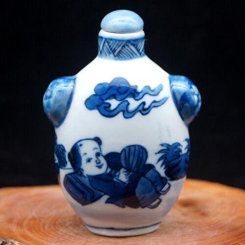 China Vintage handmade Blue And White Porcelain Ancient children Snuff Bottle