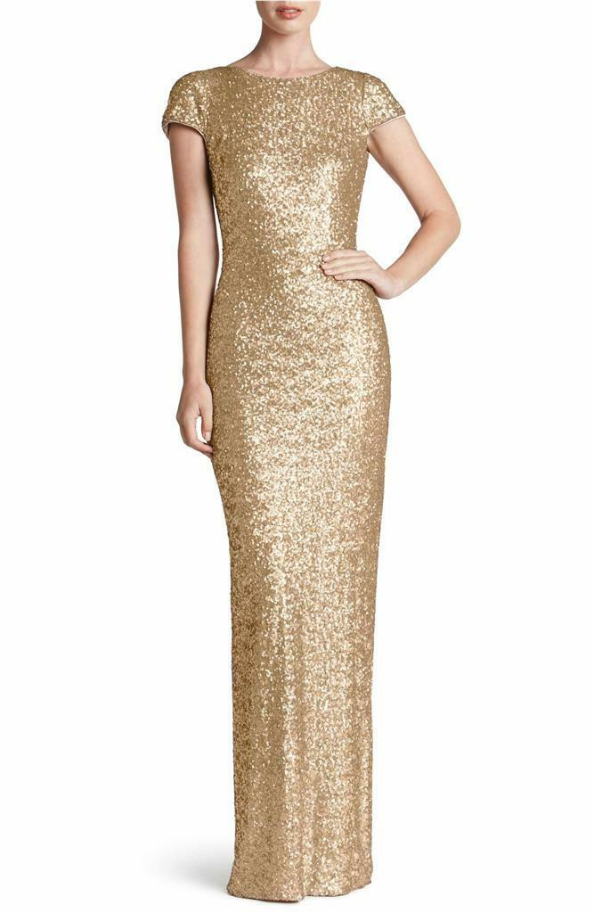 NEW DRESS the POPULATION brushed gold Sequin Teresa Stretch Bodycon Gown M 4 6