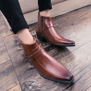Mens Ankle Boot Casual Pointy Toe Chunky Leather Business Dress Chelsea Shoes SZ