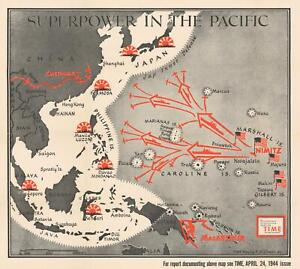 Details about 1944 Chapin Map of American Progress in the Pacific War  During WWII