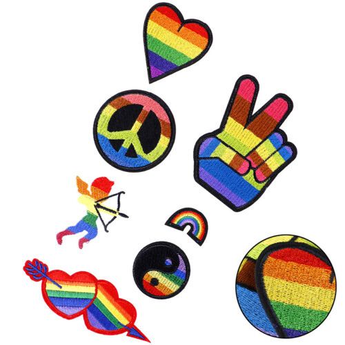 Rainbow Iron On Patches For Clothing Lgbt Flag Gay Pride Embroidered StickJB