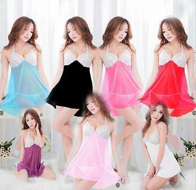 HOUS Women's Sexy Lingerie Lace Dress Underwear Babydoll Sleepwear+G-string