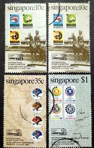 Singapore-1983-International-Stamp-Exhibition-Bangkok-Complete-Set-10c-4v-Used