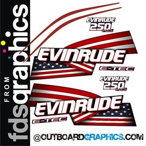 Evinrude 250hp ETEC / E-TEC HO outboard engine decals