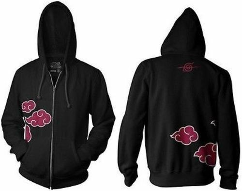 Authentic Naruto Shippuden Anti Leaf Cloud Zip Up Hoodie Anime Manga S-3Xl