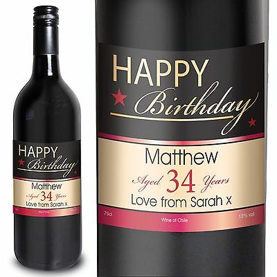 Personalised Happy Birthday Red Wine - Perfect Birthday Gift For Her Or For Him