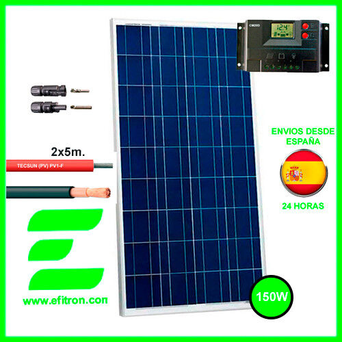 Kit Placa solar panel 165 Wp 12V . Modulo fotovoltaico. EFITRÓN. Caravanas.