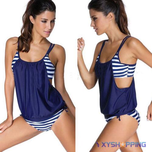 Womens Tankini Boyshorts Bikini Set Swimsuit Summer Beach Bathing Suit Swimwear