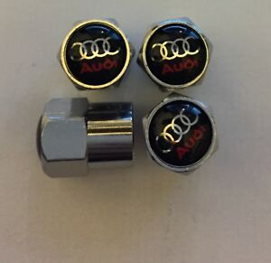 Audi Logo Wheel Tyre Valve Dust Caps in Gift Box black