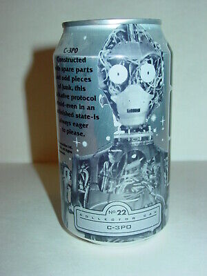 1999 12 oz C-3PO # 22 STAR WARS EPISODE l .BOTTOM OPENED PEPSI ONE CAN