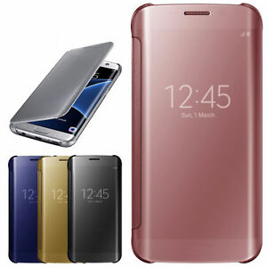 Libro-Transparente-Fino-Retrovisor-funda-para-Samsung-Galaxy-S6-S7-Edge-Note-4-5