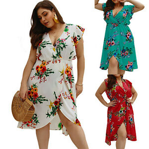 d974419c46a45 Women s Summer Boho Floral Wrap V Neck Mini Dress Party Beach ...