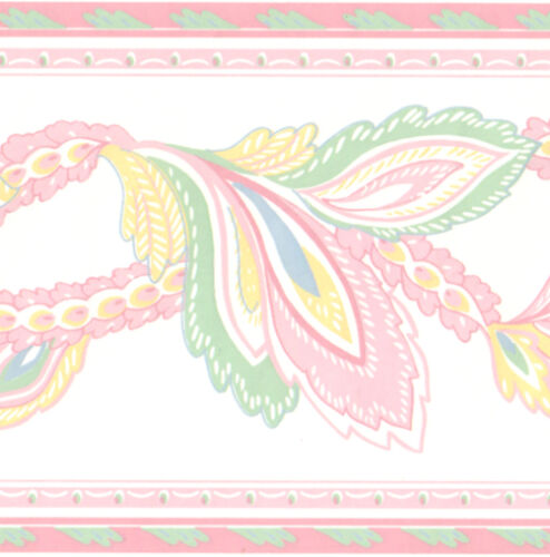 Bird Peacock FEATHER Pastel Color Pink Yellow Blue Green Wall paper Border