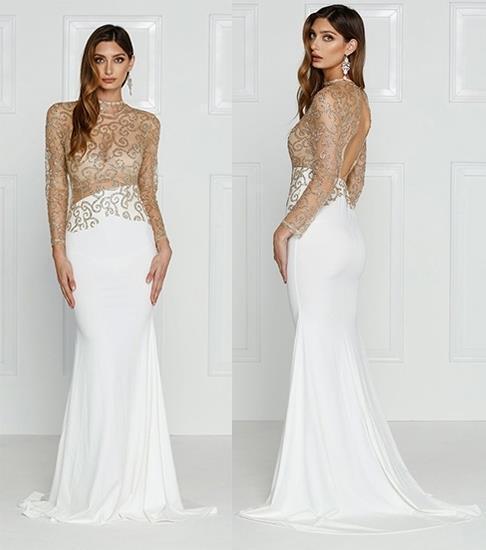 Weiß Gold Sheer Mesh Glitter Long Sleeve Mock Neck Cut Out Back Maxi Dress NWT