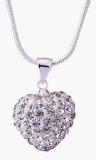 Collier pendentif coeur et strass cristal blanc style shambala.