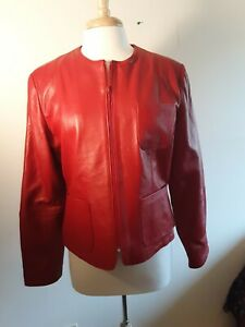 Willie-Smith-Collection-women-039-s-red-leather-zipped-jacket-3-pockets-new-L