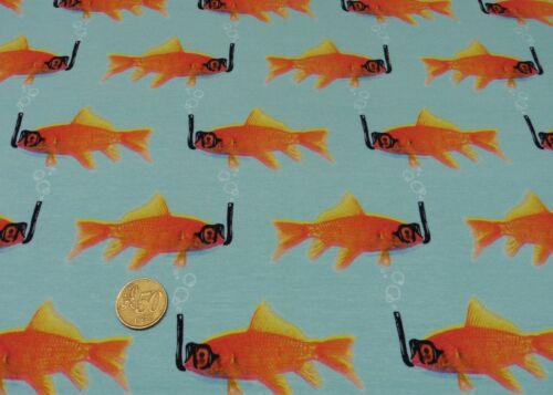Diving fish algodón-Stretch-Jersey Aqua hilco camisa de tela 25 cm