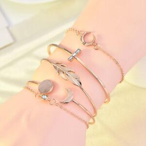 5Pcs-Women-Bohemian-Moon-Leaf-Cuff-Bracelet-Bangle-Crystal-Gold-Chain-Jewelry