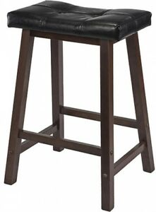 Padded Saddle Stool 24 Inch Counter Bar Pub Chair Kitchen