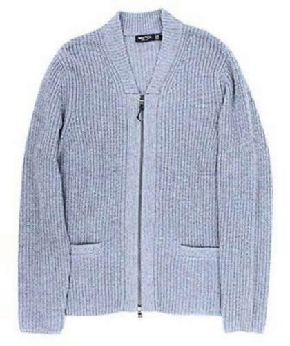 Cardigan col montant à zippé bleu KlJF1Tc3