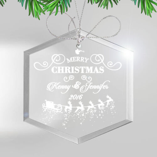 Personalized Glass Christmas Ornament Engraved Seasonal Holiday Gift For Family