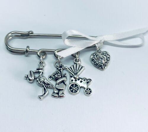 Baby Shower brooch safety pin kilt mum to be girl//boy stork teddy pram charm