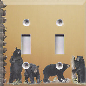 Black bear bears light switch cover home outdoor for Rustic bear home decor