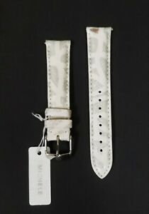 NEW MICHELE 18MM WHITE+GLITTER SILVER LEATHER WATCH STRAP,BAND,SILVER BUCKLE