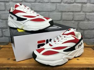 FILA-LADIES-UK-4-EU-37-VENOM-94-LOW-WHITE-AND-RED-TRAINERS