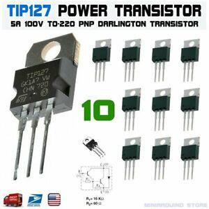 10pcs-TIP127-Power-Transistor-5A-100V-PNP-Darlington-TO-220-ST-Bipolar