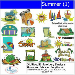 - 20 Designs 9 Formats 1 Embroidery Design Set Summer USB Stick