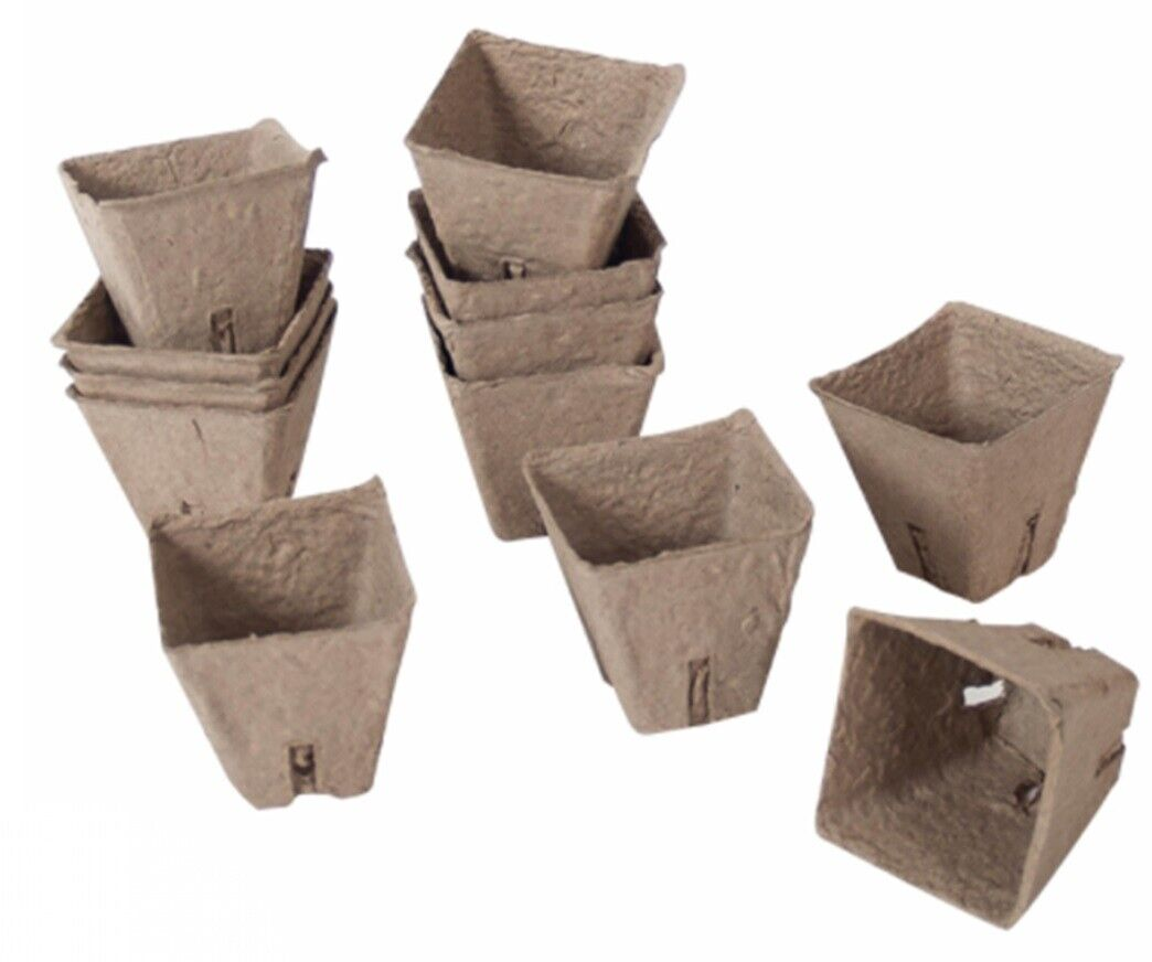 120 x Biodegradable Seedling Pots 6cm Square Fibre Plant Seed Seedling Pots