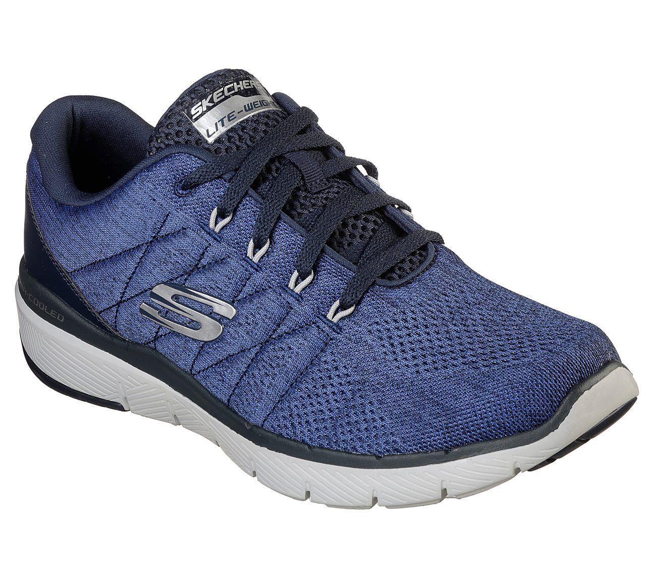 Wide shoes bluee Black Skechers Men's Memory Foam Mesh Sport Casual Lace Up 52957
