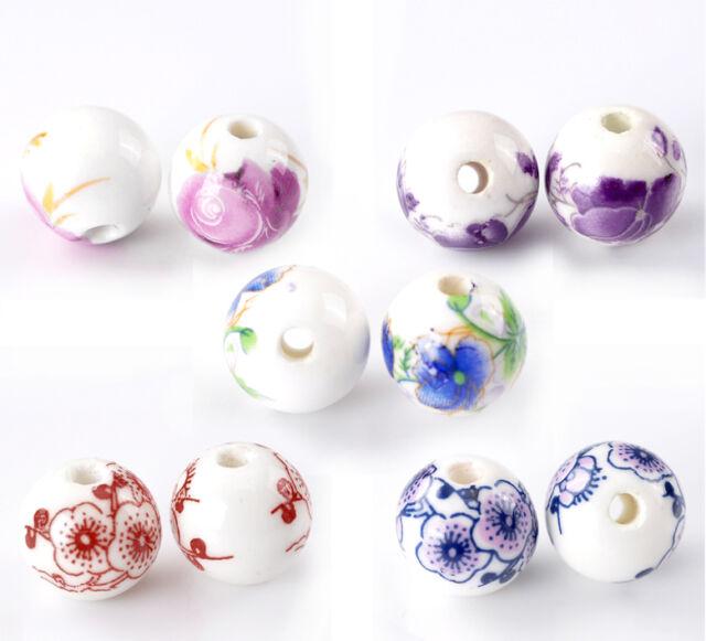 "30PCs Mixed Flower Pattern Round Ceramic Beads 12mm(4/8"")Dia."