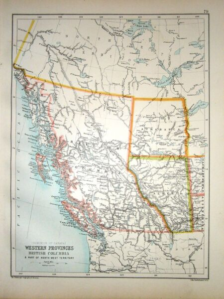 1891 Mappa ~ Western Province British Columbia & Pezzo North West Territory