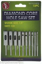 10pc 100 Grit Diamond Core Hole Saw Set 3/32-7/16 Drill Bit 4 HS Rotary Tool