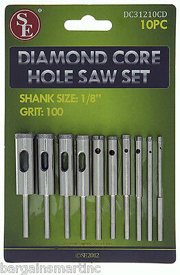 10pc 100 Grit Diamond Core Hole Saw Set 3/32-7/16 Drill Bit 4 HS Rotary Tool