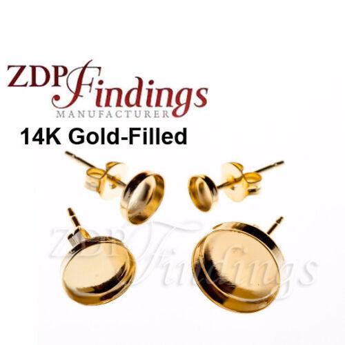 Earring Jewelry Findings 6mm bezel on Post Gold-Filled