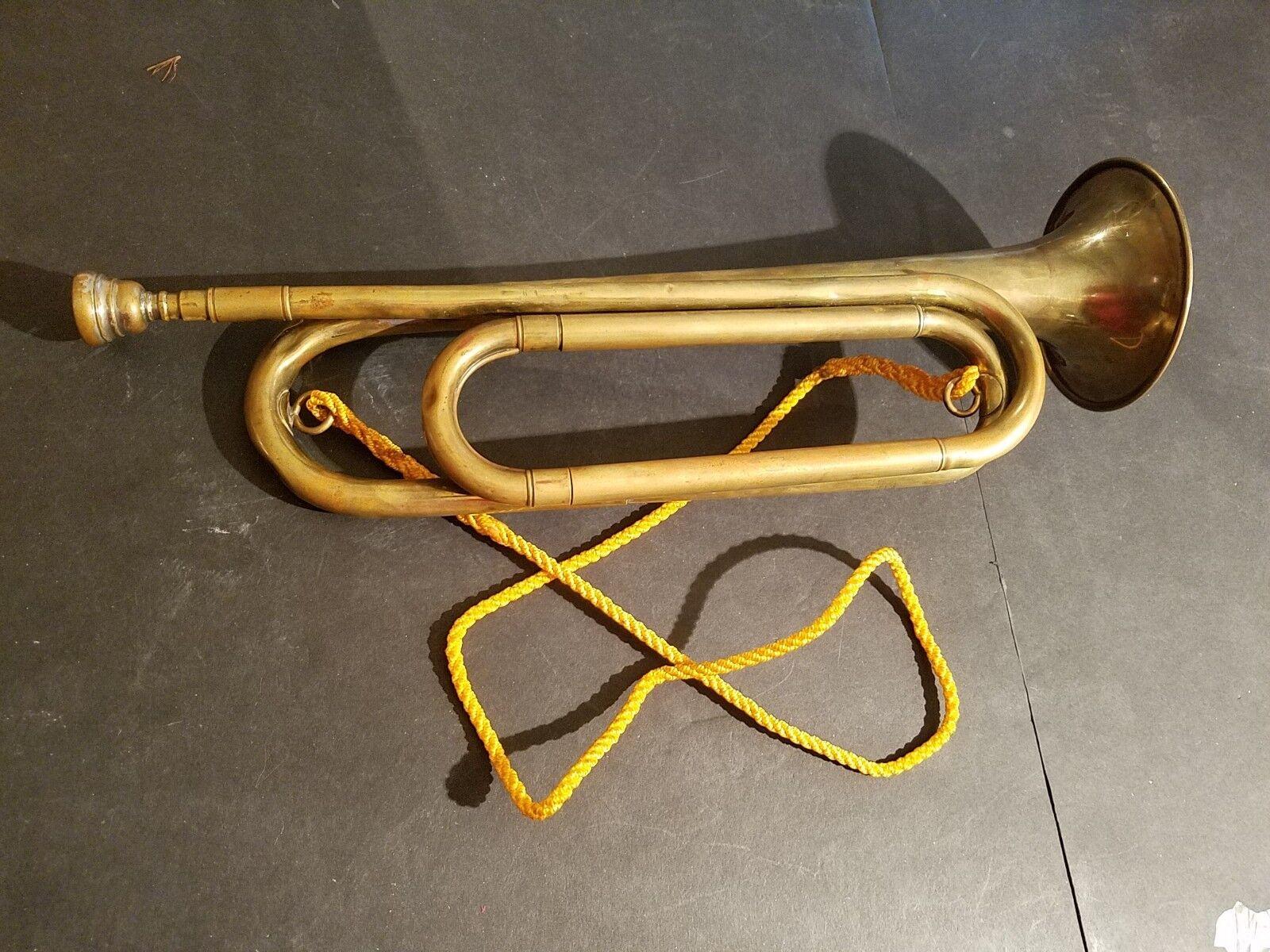 Antique Brass Bugle Rexcraft US Regulation Vintage Military W Mouthpiece 1930's