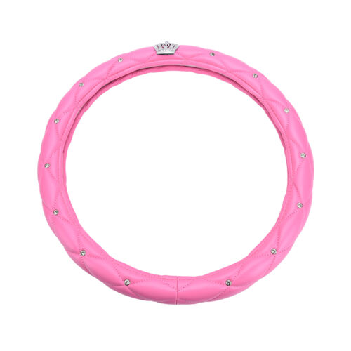 Universal Lenkradbezug Leder Shinny Crystal Crown Pink Girl Geschen  ZDZYB