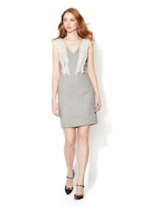 Rebecca-Taylor-leopard-gray-ruffle-stone-dress-size-12-new-with-tags