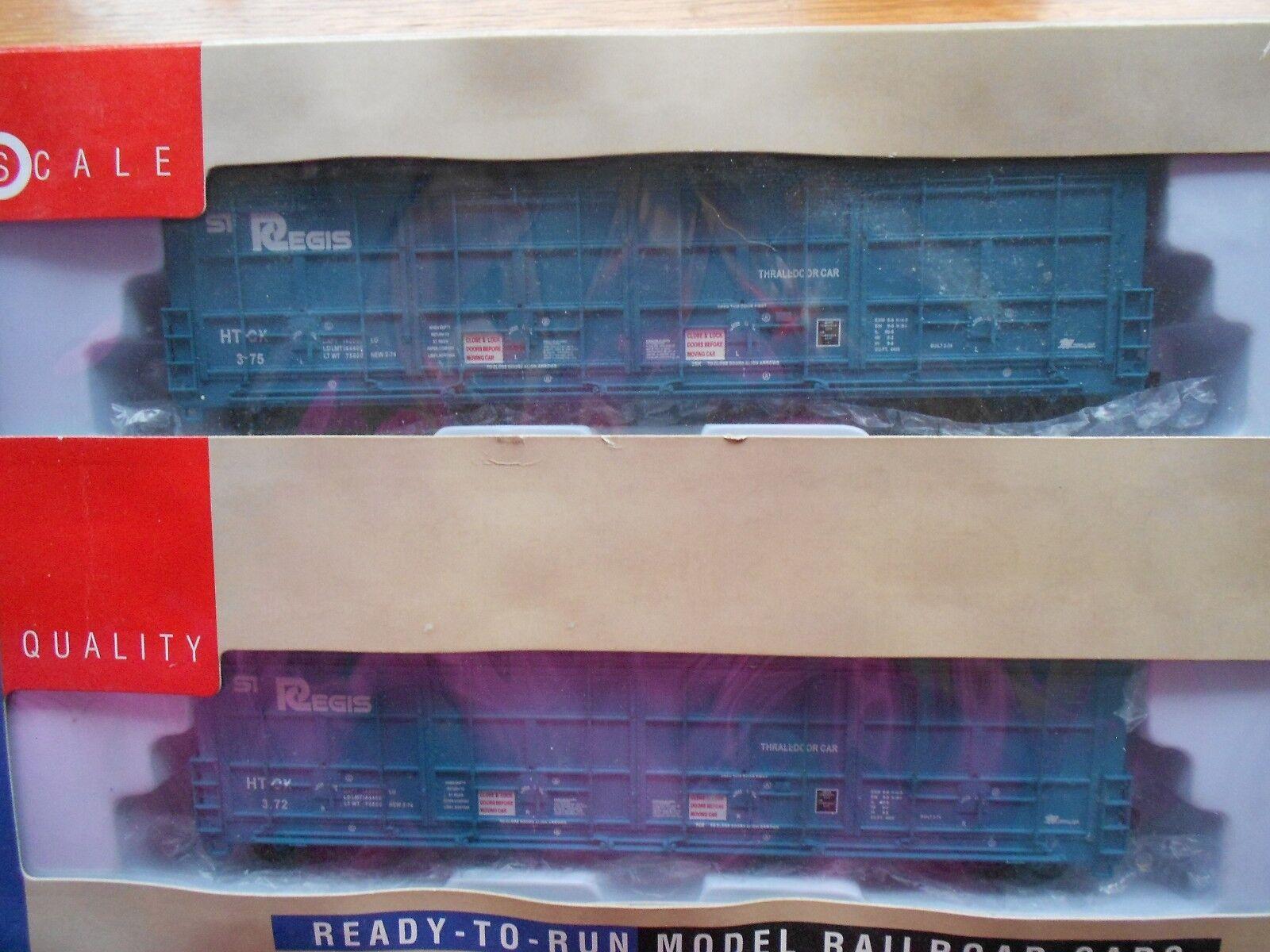 WALTHERS 56' THRALL DOOR BOX CAR HO GAUGE ST. REGIS PAPER NIB 2 CAR SET