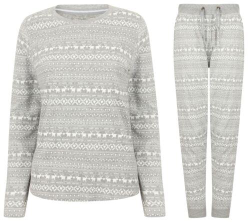 Tokyo Laundry Ladies Christmas X-Mas Print Pyjamas Top and Bottoms Set Grey