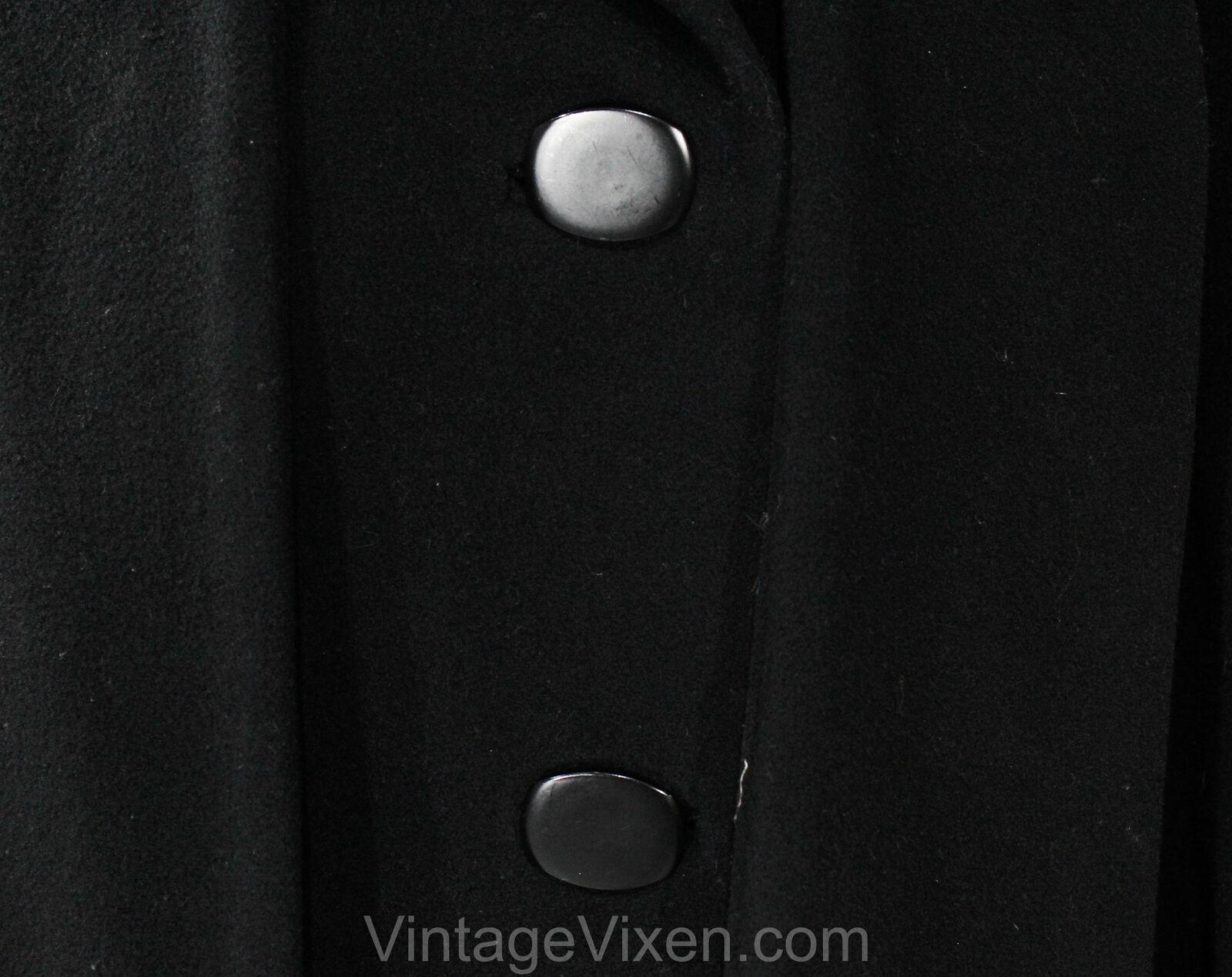Size 10 Black Winter Coat - Designer 80s Overcoat… - image 5