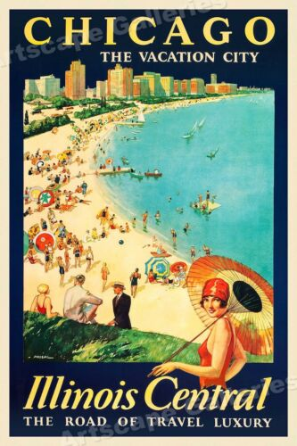 24x36 1929 Chicago the Vacation City Vintage Style Travel Poster