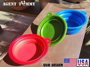 DOG/CAT water food Silicon bowl, folds for hiking/travel/<wbr/>Expandable  2 PACK!